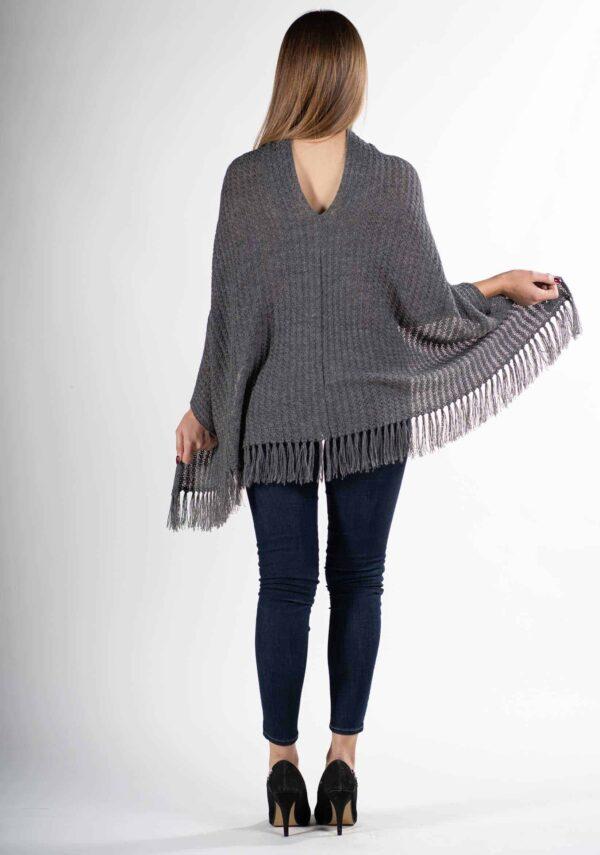 poncho antracite donna elegante pura lana alpaca