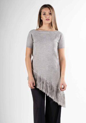 maglia vestito lungo grigio donna design pura lana naturale alpaca soffice come il cashmere primavera estate 2019