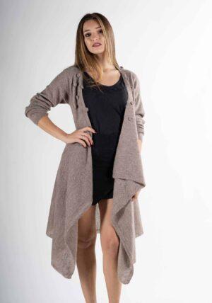 cardigan donna elegante-morbido come cashmere pura lana alpaca