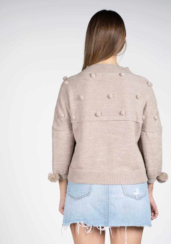 maglia maglione donna-mezza-manica-ecru pura lana alpaca-mezza stagione