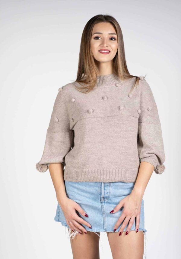 maglia beige ragazza design pura lana alpaca primavera estate 2019