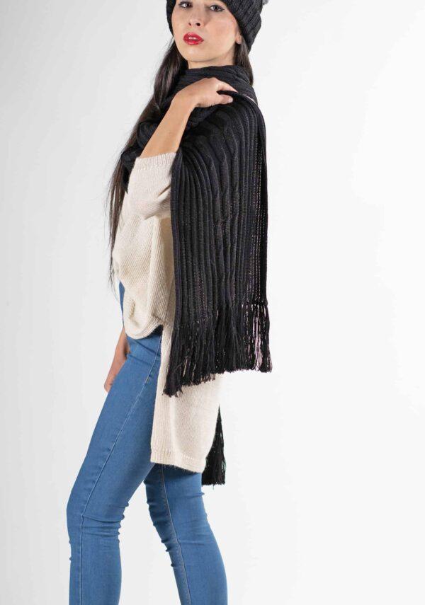 sciarpa nera lana alpaca donna uomo