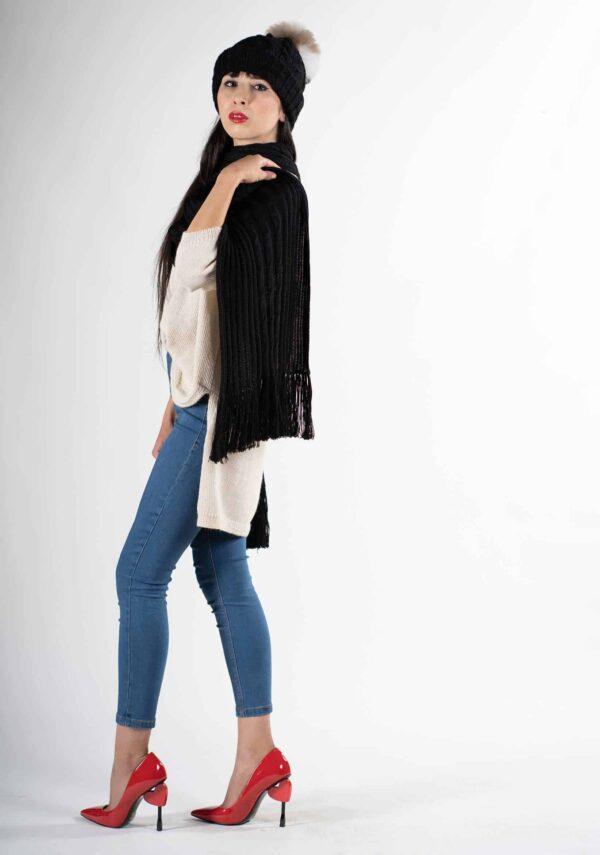 berretto-e-sciarpa-donna-nero-pura lana alpaca