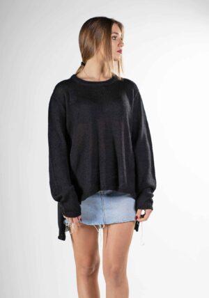 maglioncino nero semplice donna design pura lana naturale alpaca soffice come il cashmere