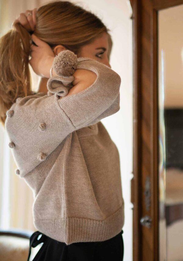 Maglione maglia ecru morbido come il cashmere donna pura lana alpaca primavera estate 2019